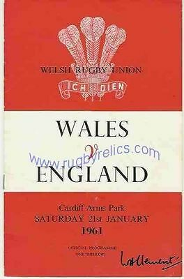 WALES v ENGLAND 1961 RUGBY PROGRAMME 21 Jan at CARDIFF