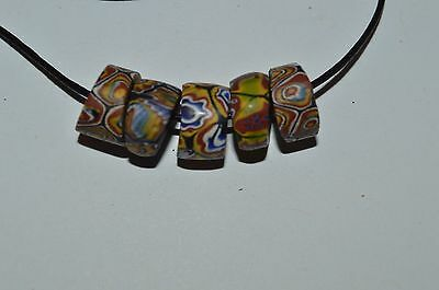 5 old rare matched venetian trade beads millefiori African lot, antique mosaic