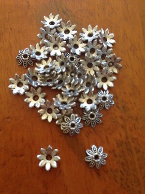 Antique Silver Flower Bead Caps x 200