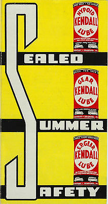 RARE c 1930s Kendall Oil Advertising Brochure  -  Sealed Summer Safety