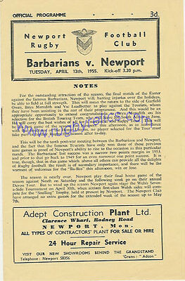 NEWPORT v BARBARIANS 12 Apr 1955 RUGBY PROGRAMME