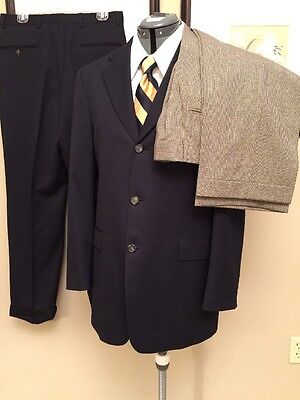 Tommy Hilfiger 3 Piece Travelers Suit 38 R Navy With 2 Pairs Of Pants