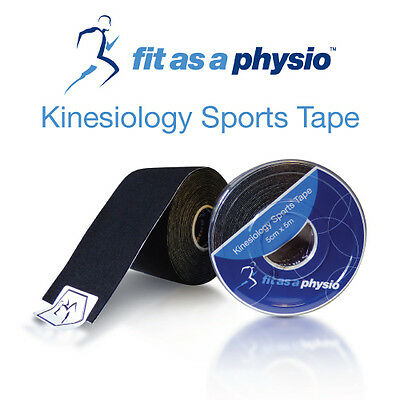 Kinesiology Sports Strapping Tape - 2 Black Rolls