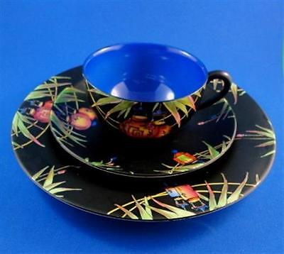 Rare Chinese Lanterns on Black Crown Ducal Ware Tea Cup, Saucer & Plate Trio Set