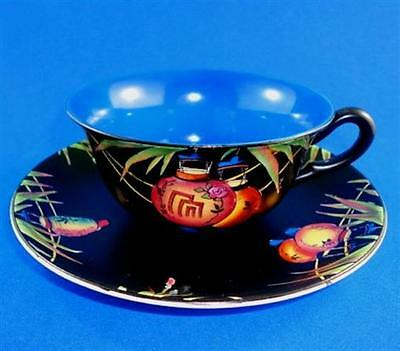 Chinese Lanterns on Black Crown Ducal Ware Tea Cup and Saucer Set
