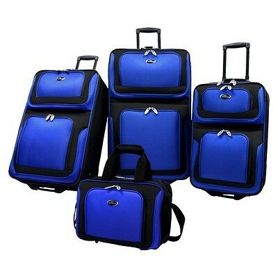 U.S. Traveler New Yorker 4 Piece Expandable Luggage Set, Blue