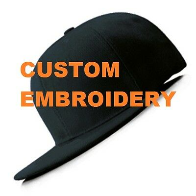 Make Yours Custom Personalised Embroidery Black FLAT Peak SNAPBACK Hat Cap Gift