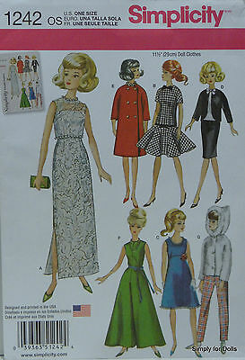 """Simplicity 1242 Vintage 11-1/2"""" DOLL CLOTHES Wardrobe Sewing PATTERN fits Barbie"""