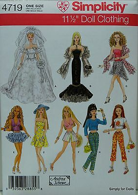"""Simplicity 4719 DOLL CLOTHES Sewing PATTERN for 11-1/2"""" BARBIE DOLL Wardrobe NEW"""