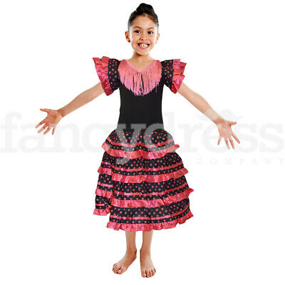 11210a9a471a8 Girls Spanish Dress Flamenco Black Pink Fancy Dress Costume Book World Day