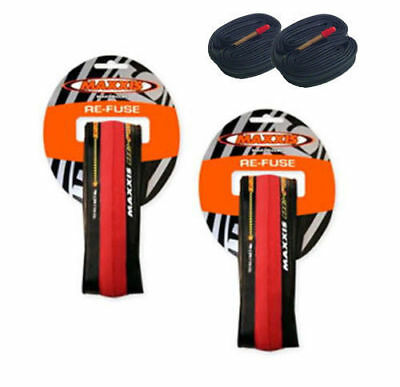2 X Maxxis Re-Fuse Folding Road Bike Tyre 700 X 23C Refuse Red +2 Tube