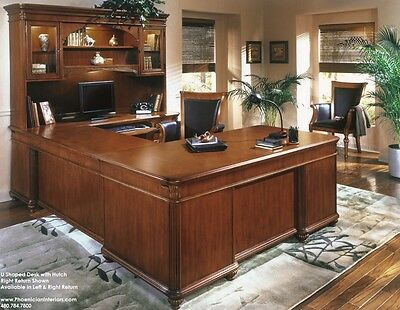 ExecutiveShaped Desk with Overhang CHERRY and WALNUT WOOD