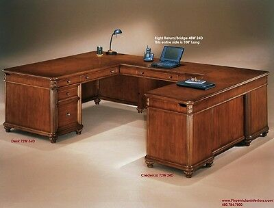 Executive U Shaped Desk with Fancy Desktop CHERRY WOOD OFFICE FURNITURE