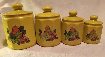 Vintage 8-Sided Set of 4 KROMEX Nesting Metal Canisters w/Plastic Lids