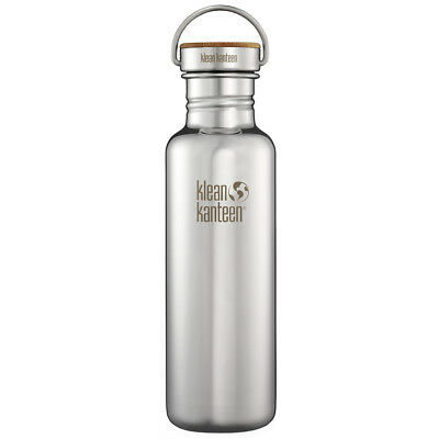KLEAN KANTEEN REFLECT 800ml CAMPING WATER BOTTLE BAMBOO CAP MIRRORED STAINLESS