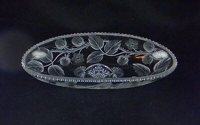 Tuthill ABP American Brilliant Period Cut & Engraved Glass Tray - Blackberry (?)