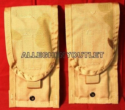 2 NEW US Military Double Mag M4 Pouch Desert Camo, Molle 30 Round Ammo Pouch