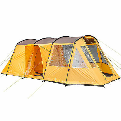skandika Nordland 4 Person/Man Family Tunnel Tent Sewn-in Floor Camp Orange New