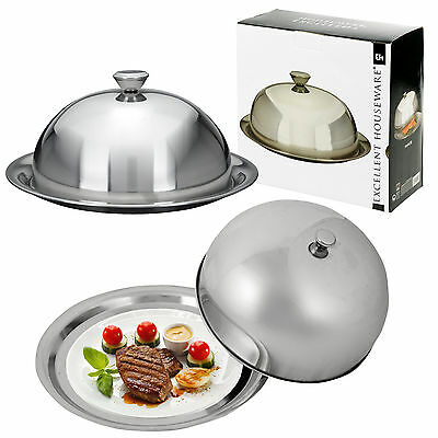 Stainless Steel Cloche Food Cover Dome Serving Plate Dish Dining Dinner Platter