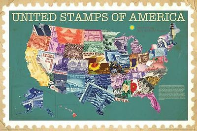 UNITED STAMPS OF AMERICA - MAP POSTER - 24x36 COLLECTING USA 241299