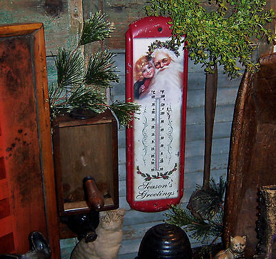 Primitive Vtg Style Retro Red Christmas Santa Claus St Nick Metal Thermometer