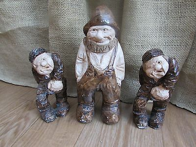 3 Made in Denmark Statues-Farmer with 2 Hitchmen Signed by Artist #2943