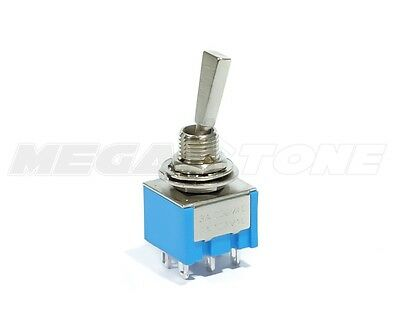 (1) DPDT Mini Toggle ON-OFF-ON Flat Bat, High Quality Guitar Switch. USA SELLER!