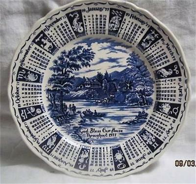 1977 STAFFORDSHIRE ENGLAND ZODIAC CALENDAR PLATE GOD BLESS OUR HOUSE A.  MEAKIN