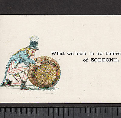 Zoedone NY Bottle Cider Uncle Sam Sparkling Tonic 1800's Advertising Trade Card