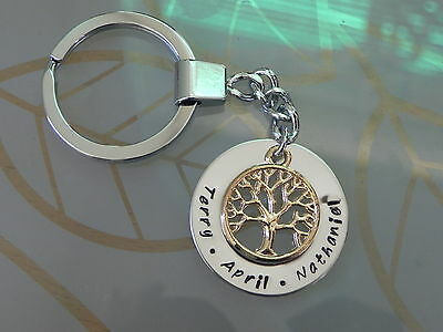 Personalised Hand stamped Family Keyring / Pendant Gold plated Circle of Life