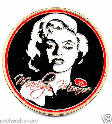 MARILYN MONROE Gold Coin White Black & Red Kiss Signed Oscar Film Star Sexy Lady
