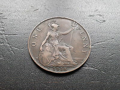 George V One Penny 1918 H Heaton Mint (326B)