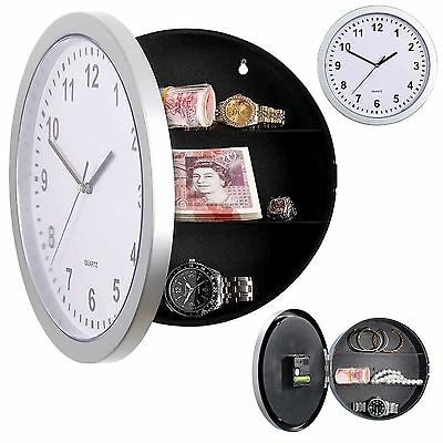 Silver Wall Clock Safe With Secret Hidden Compartment Money Stash Jewellery NEW