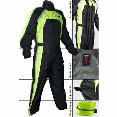 Tuzo One Piece Motorcycle Waterproof Rain Over Suit Black Fluorescent Red Blue