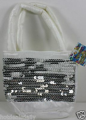 "WHITE SEQUIN 5/"" X 6/"" GIFT BAG SEWN FOAM LINED STRAPS EASTER BAGS"
