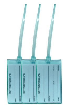 3x Light Blue Business Card ID Luggage Tag Set