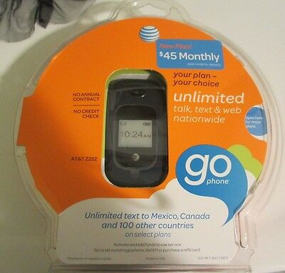 AT&T GoPhone Z222 No-Contract Prepaid GSM Mobile Camera Flip Phone Blue NEW
