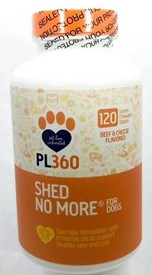 Petlabs360 Shed No More Beef & Cheese Flavored Scored Chew tabs 4 Dog 120ct