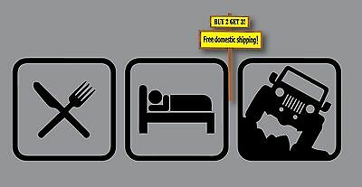 Eat Sleep Jeep Decal/Sticker Choose Color Wrangler 3 Decals in 1 CJ5, Rubicon