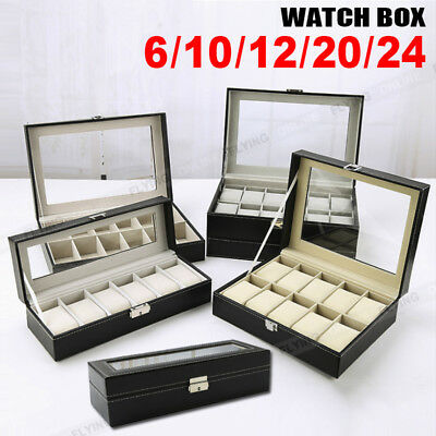 3/6/9/10/12/20/24 Grids Jewelry Storatge Hold Box Wrist Watches Display Case