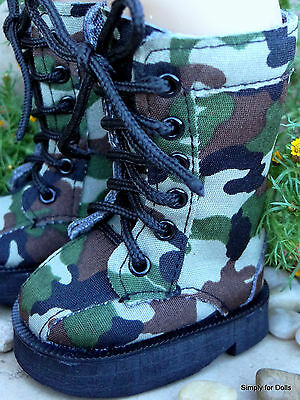 "GREEN Canvas Tall Camo DOLL BOOTS SHOES fits 18"" AMERICAN GIRL Doll Clothes"