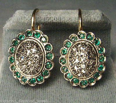 Victorian Inspired 0.80ct Diamond & Emerald Earrings, Free Shipping Worldwide