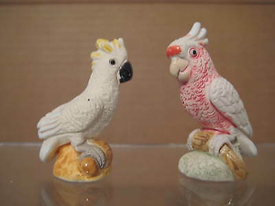 SULPHUR CRESTED AND PINK COCKATOO PARROT FIGURINE MINIATURES Set of 2
