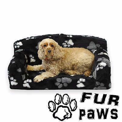 FUR PAWS – FAUX FUR PET SOFA. Soft Dog Bed in 3 sizes. 4 trendy colour settee.