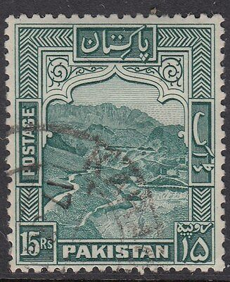 PAKISTAN :1948 15 rupees blue-green perf 12 SG42 used