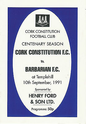 CORK CONSTITUTION (MUNSTER, IRELAND) v BARBARIANS 10 Sep 1991 RUGBY PROGRAMME