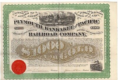 1871 Plymouth, Kankakee and Pacific Railroad Company Bond w/bond coupons