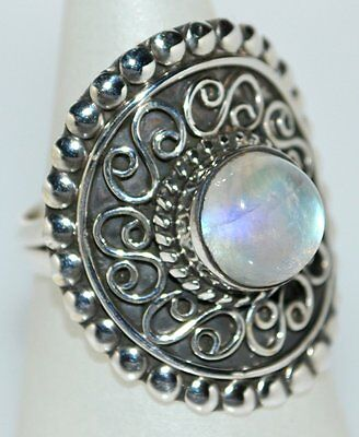 Sterling Silver ANTIQUE style Mystic Moonstone Ring 925, All Sizes M,6 to V,10½