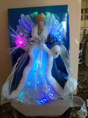 LED FIBER OPTIC ANGEL  FIGURE IN BLUE VELVET TREE TOPPER OR STAND ALONE