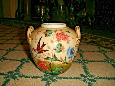 Antique Spice Jar W/Handles-Painted Birds & Flowers-Asian-No Lid-Marked 39-LQQK